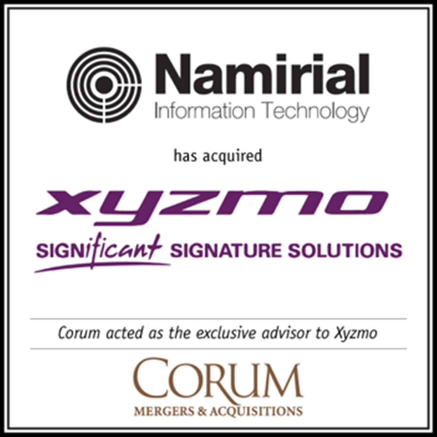Tech M&A Annual Report - Field Report: SIGNificant Software (Xyzmo) acquired by Namirial