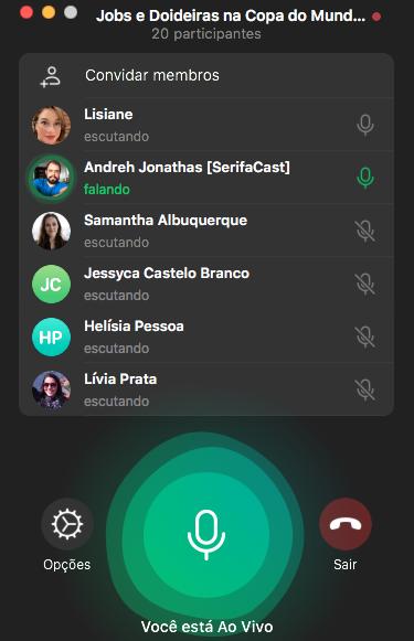 Tela da live no grupo de ouvintes do Telegram do SerifaCast