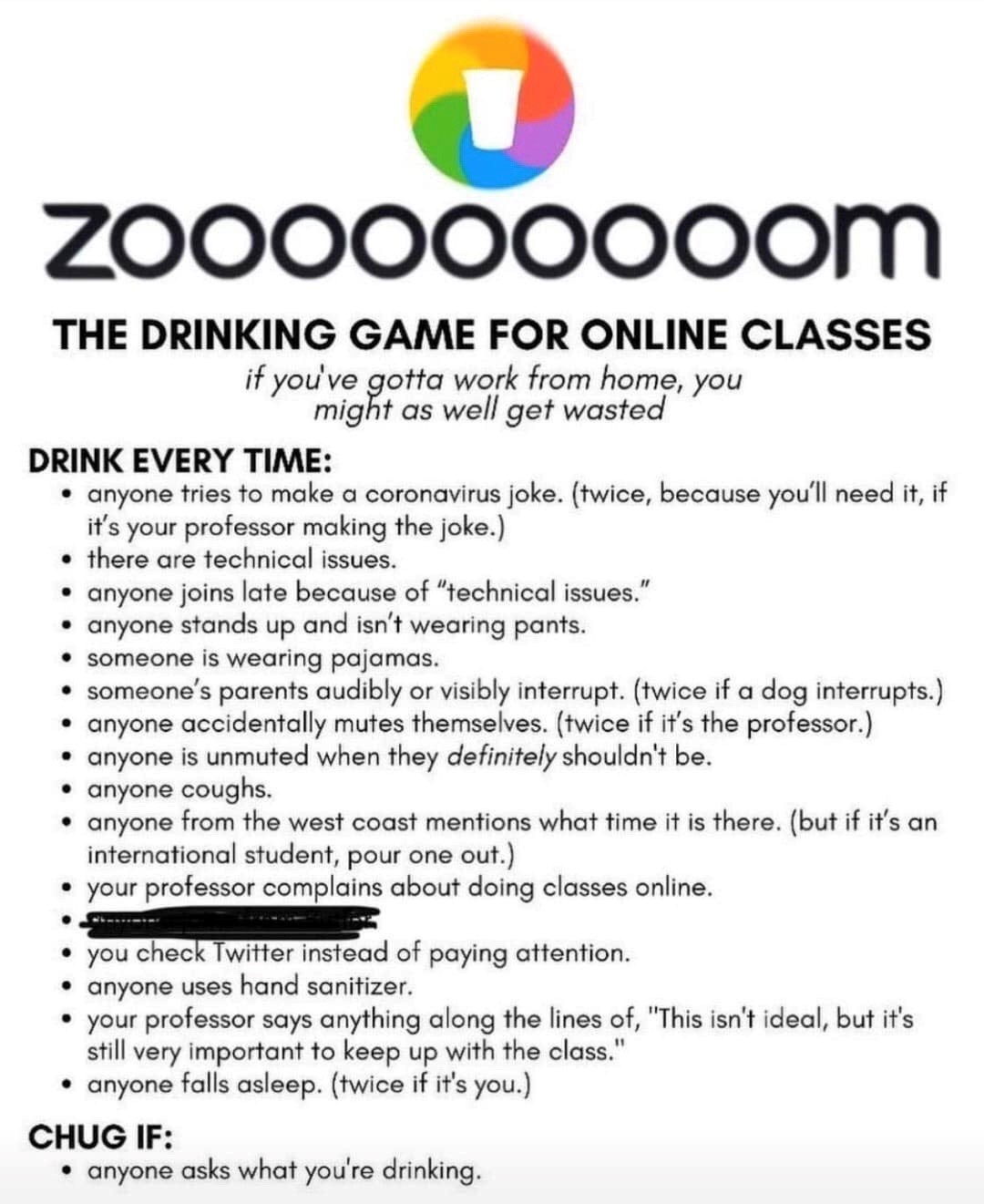 ONLINE CLASS DRINKING GAME