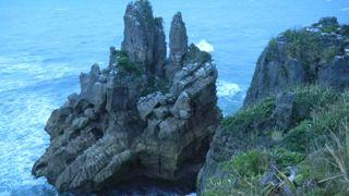 Blow holes at pancake rocks, New Zealand