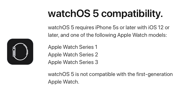 watchOS 5 compatibility from Apple