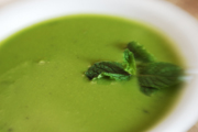 Quick Cream of Green Pea Soup with Mint