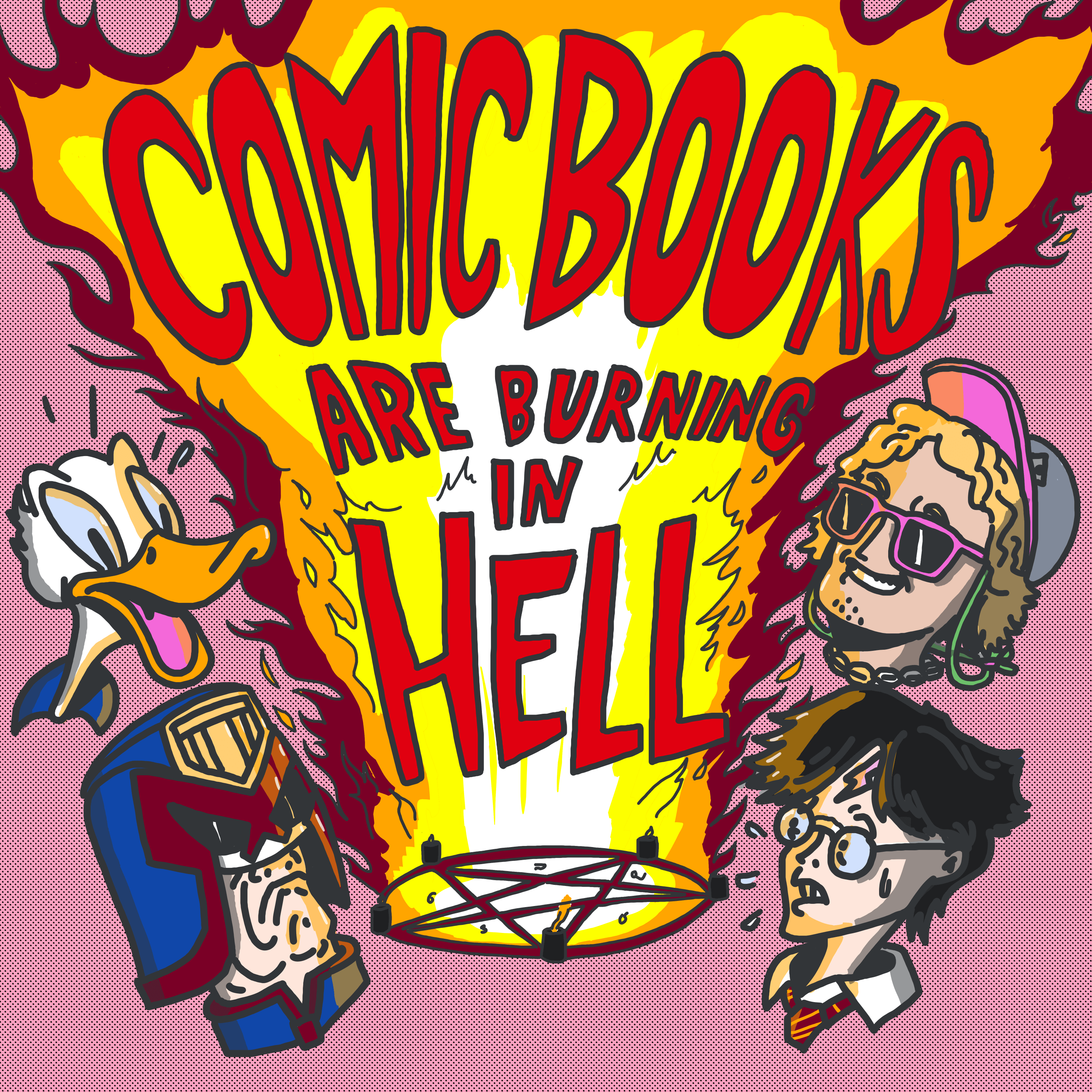 Comic Books Are Burning In Hell show art