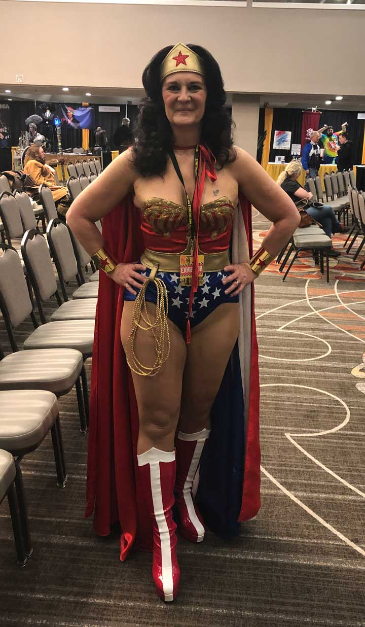 Janna Sedwick, cosplaying as the 1970s television series version of Wonder Woman