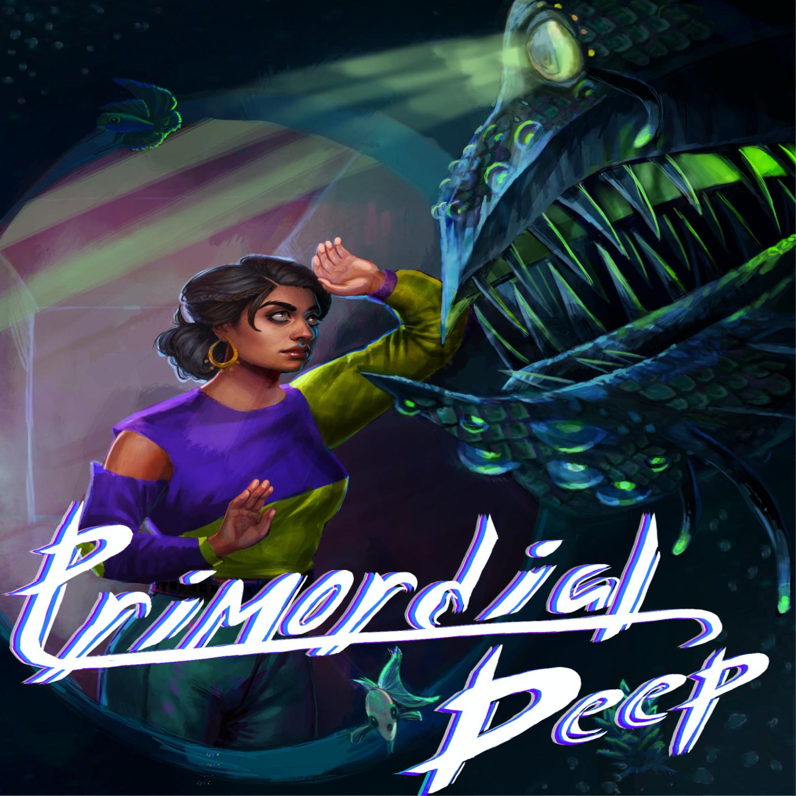 """Kuva, jossa intialaistaustaisen näköinen nainen tuijottaa merihirviötä silmiin. Edessä teksti """"Primordial Deep"""""""