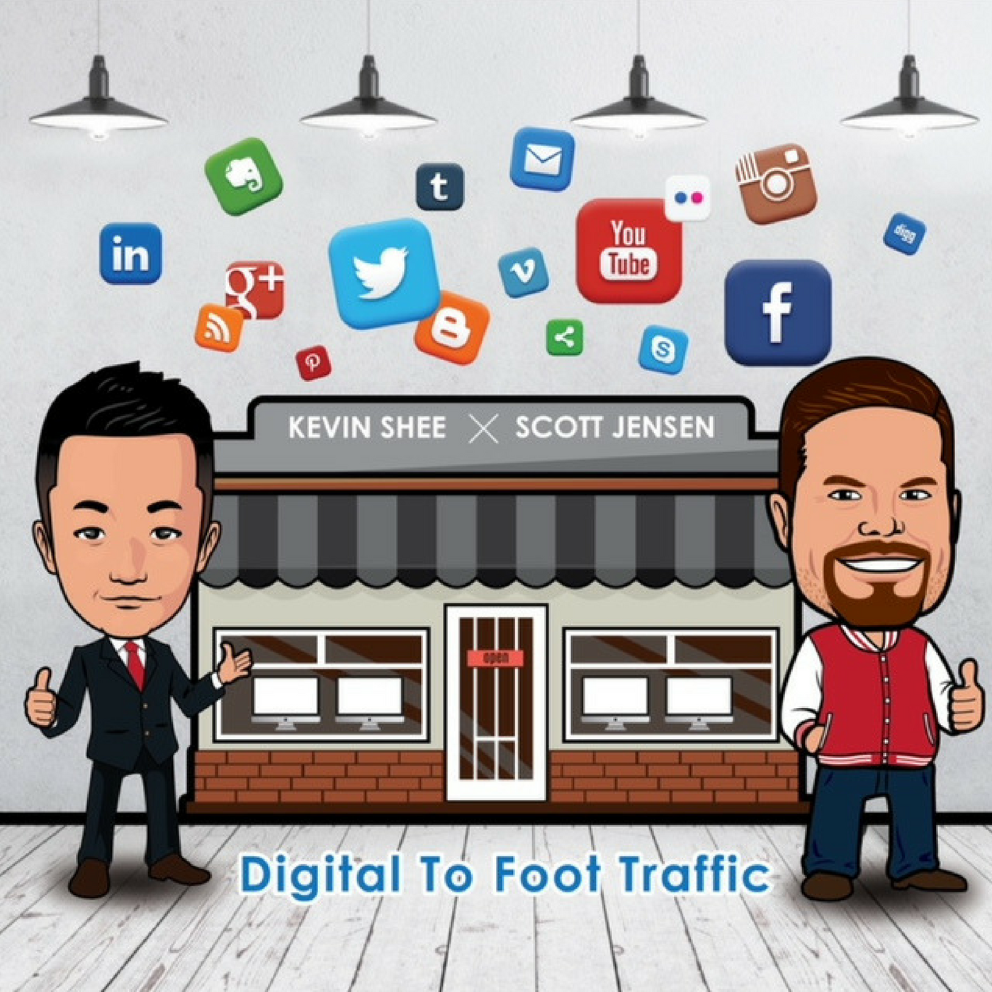 Digital to Foot Traffic - Online Marketing Guide for Retail Stores show art