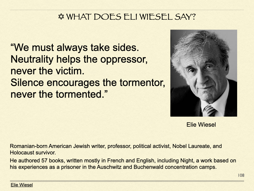 ✡︎ What Does Eli Wiesel Say?