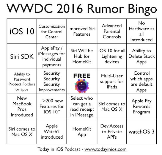 WWDC 2016 - Rumor Bingo Card