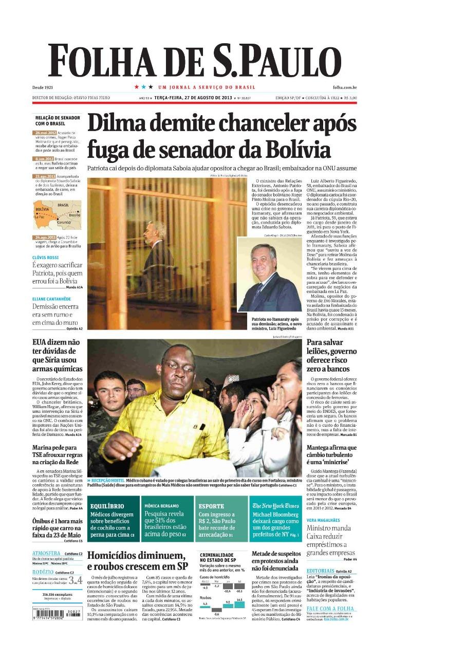 Capa do Jornal Folha de São Paulo com a foto do médico cubano feita por Jarbas Oliveira
