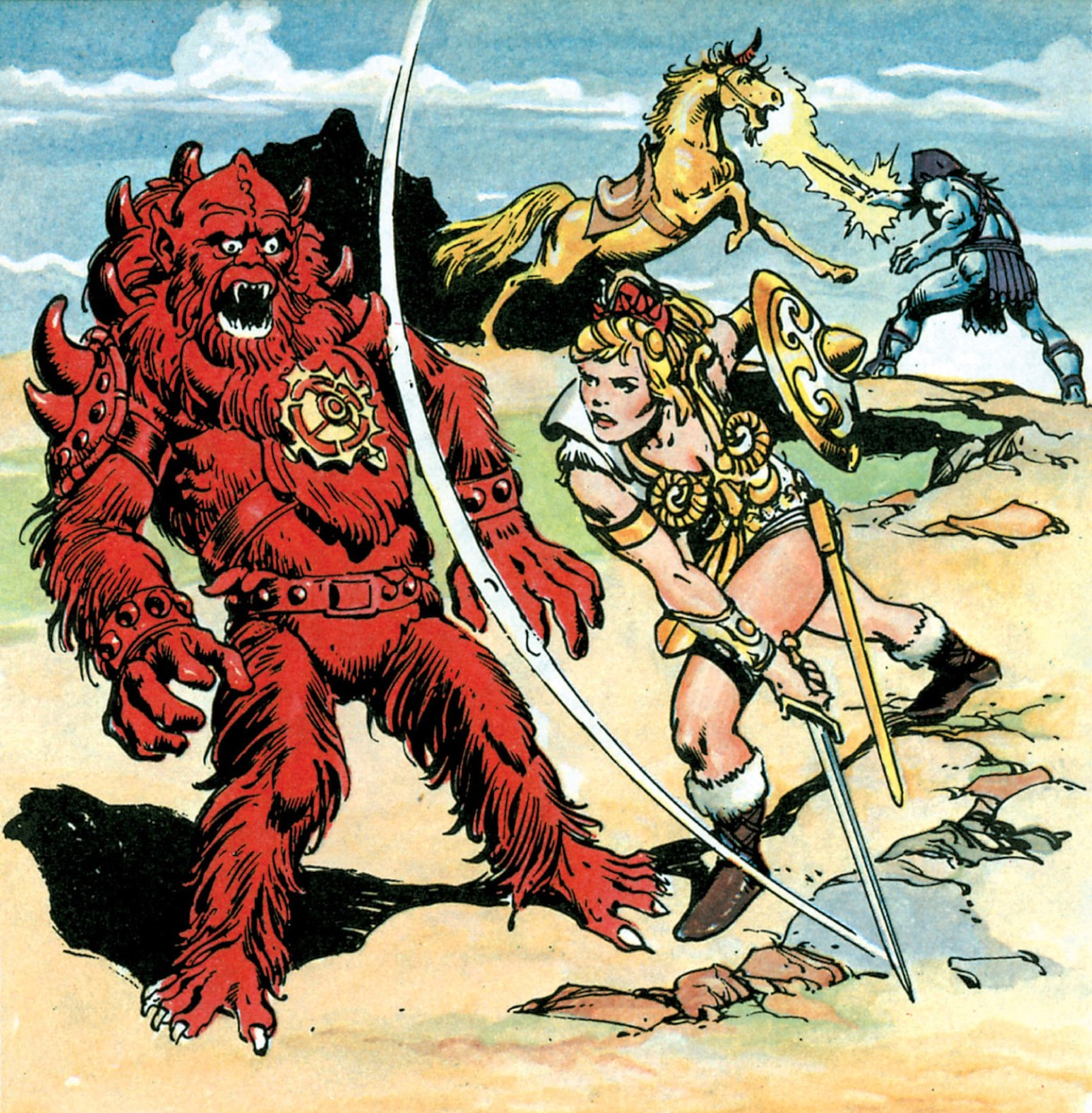 Teela the Warrior-Godess v, Beastman plus Skeletor vs Unicorn. Who will win?