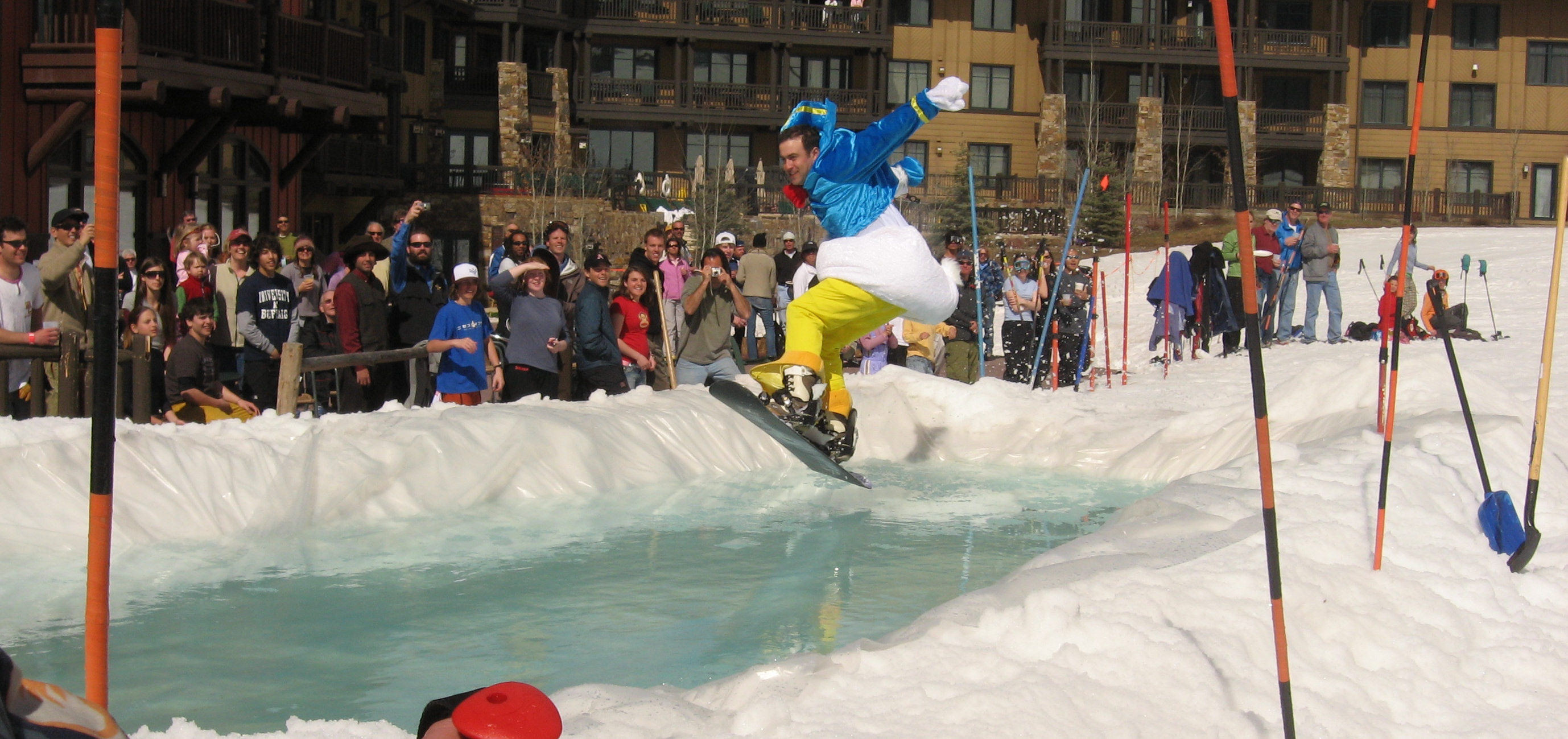 Brian snowboarding in his Donald Duck costume