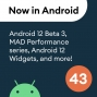 Artwork for 43 - Android 12 Beta 3, MAD Skills Performance, Google for Games Dev Summit, & more!