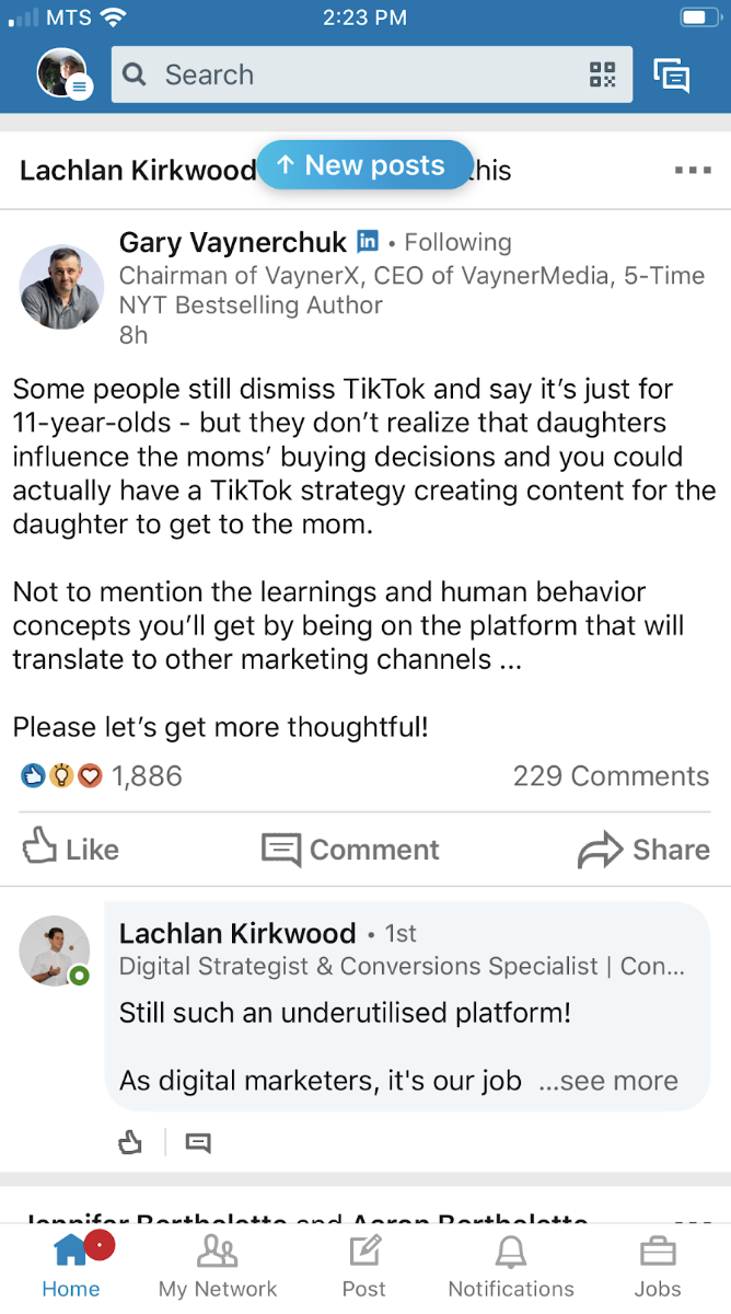 Lachlan Kirkwood LinkedIn Screenshot