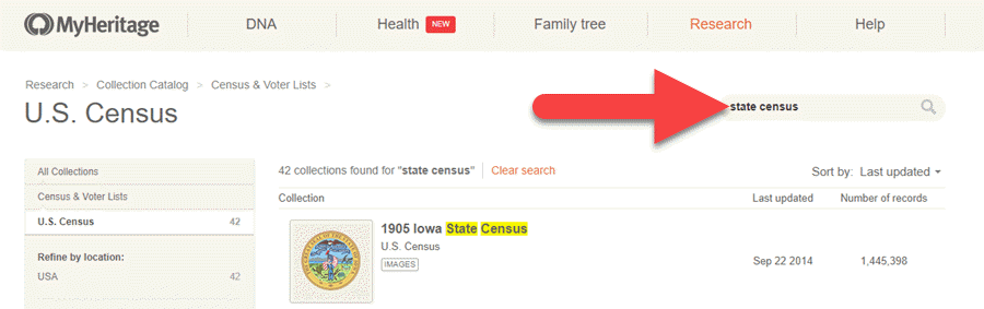 MyHeritage State Census