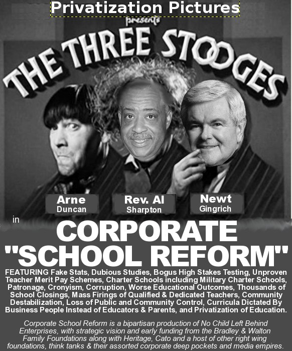 "Send In the Clowns: 3 Stooges, Gingrich, Sharpton & Duncan Hit the Road For Corporate ""School Reform"""