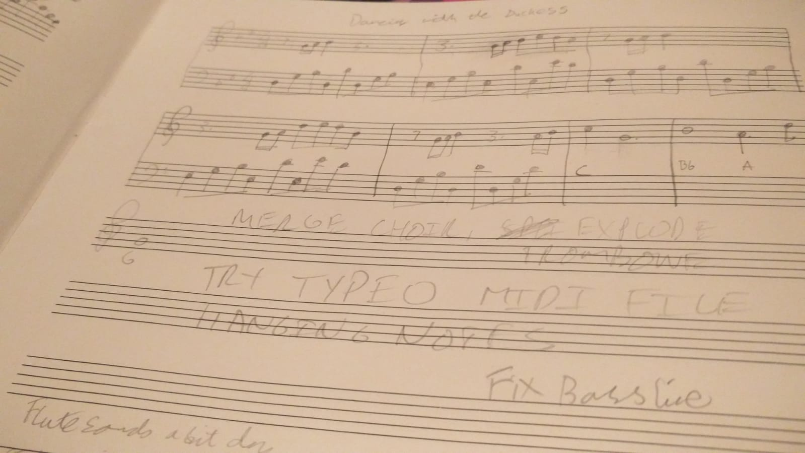 Timo's written notation for Dancing With The Duchess