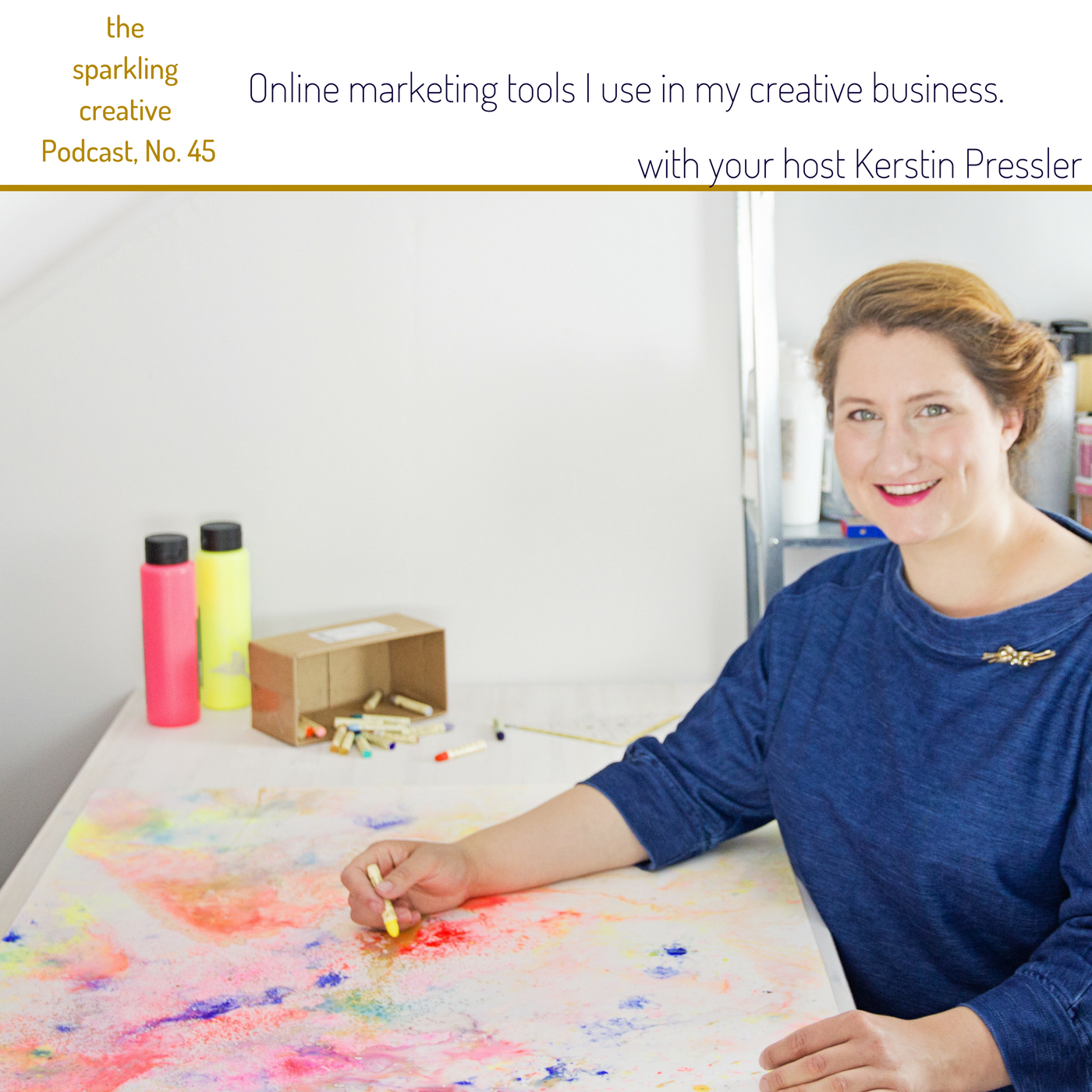 Artwork for Episode 45: online marketing tools I use in my creative business