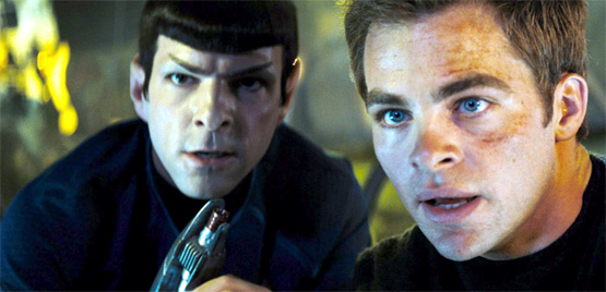 Scene from the latest Star Trek film with Spock and Kirk