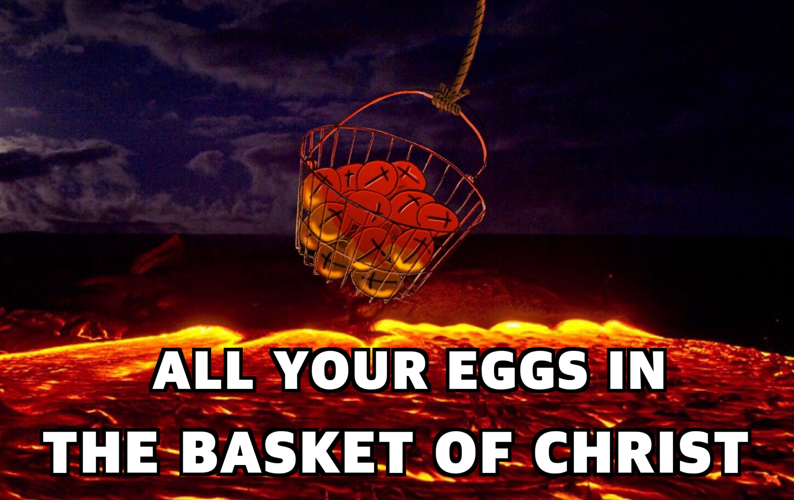 A basket of eggs with crosses on them suspended over a lava field