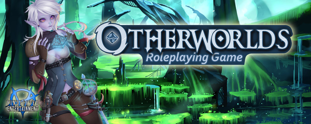 OTherworlds logo text with an image of an elf conjuring a spell in her hands