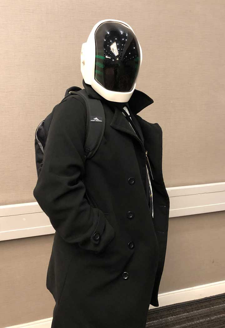 Nolan Williams, cosplaying as a member of the music duo Daft Punk