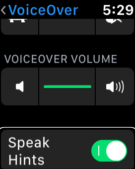 a screenshot showing the voiceover settings on apple watch taken from an apple watch series 3.