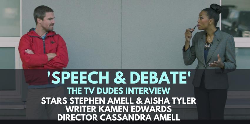 Stephen Amell, Aisha Tyler, Kamen Edwards, Cassandra Amell, 'Speech and Debate' - The TV Dudes Interview show art