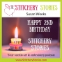 Artwork for Susan Weeks: Celebrating Two years Of Stitchery Stories Textile Art & Embroidery Podcast