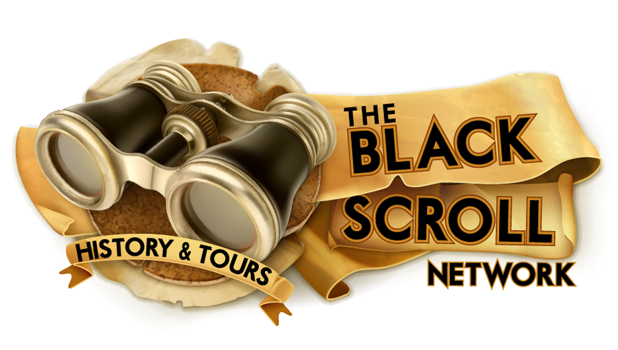 Black Scroll History Network . Logo