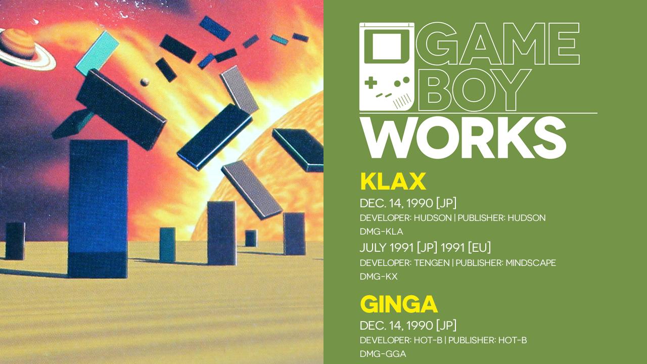Game Boy Works #125: Klax, Klax, & Ginga