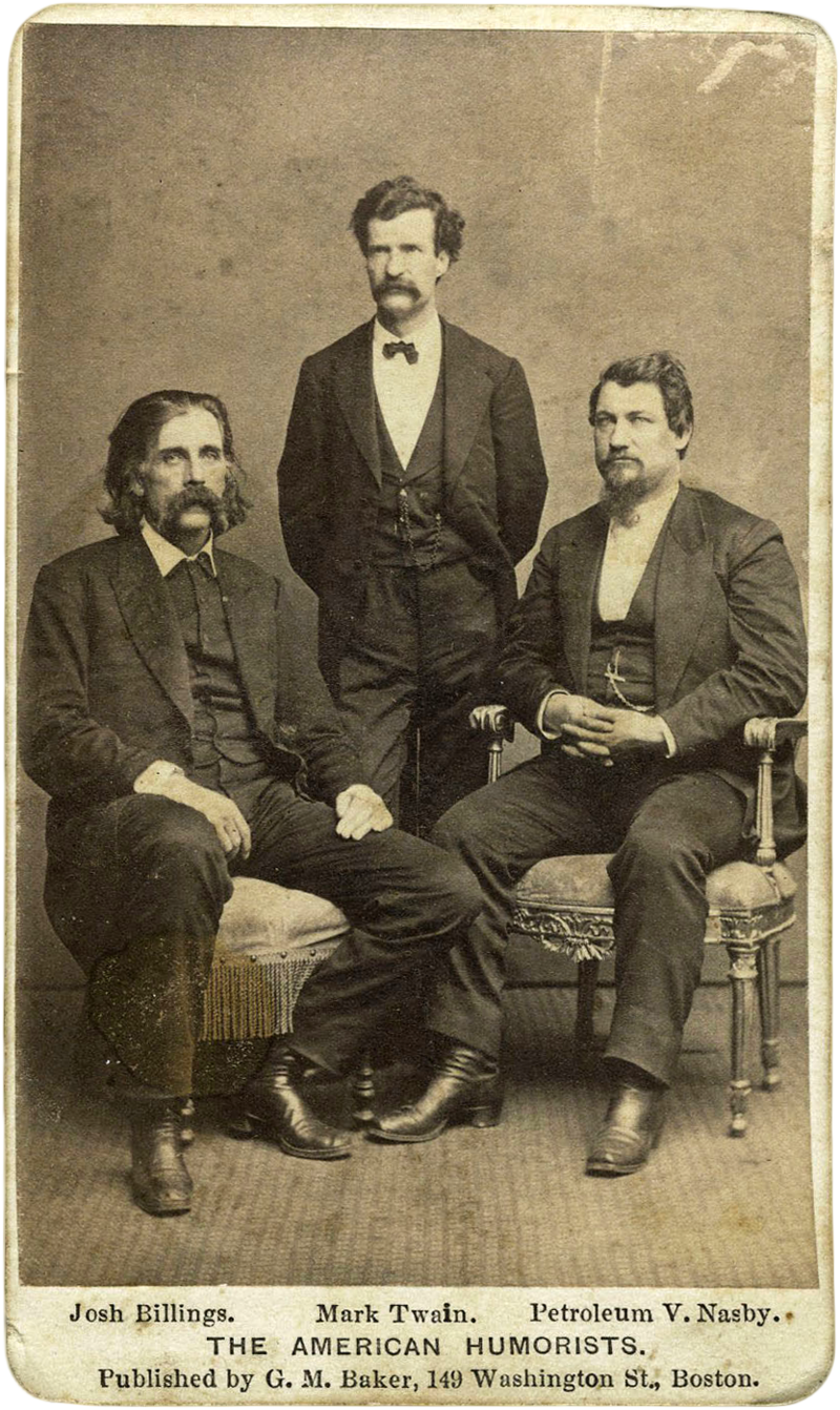 Petroleum V. Nasby, right, poses with Mark Twain, center, and Josh Billings in this 1869 image.