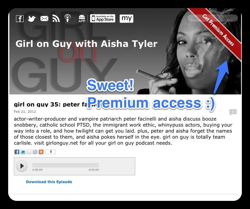 Aisha Tyler offers premium content via mylibsyn