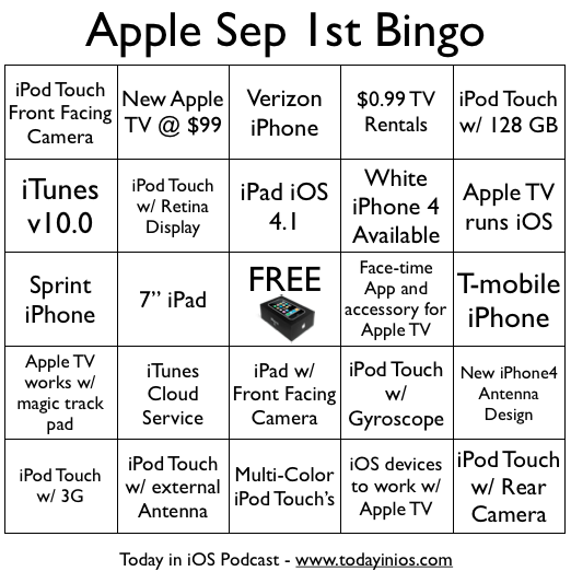 Apple's September 1st Event Rumors Bingo Card
