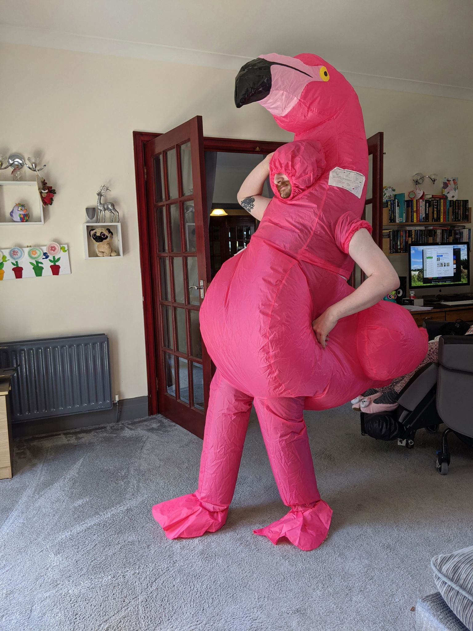 A large inflatable flamingo suit reaching almost to the ceiling of the room. Belry's arms and the lower half of his face are visible, looking uncomfortable.  The strange things he does for Penance RPG! Keywords: Phobias & Flamingo suits.