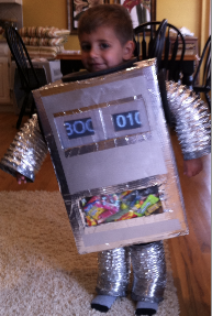My 2 year Old Son as a Retro Robot with 2 iPhones