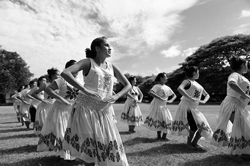 women dancing hula