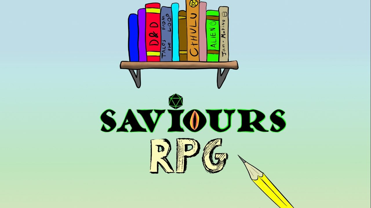 Comic style logo for Saviours RPG - showing their name one a blue-green background. The name is under a  bookshelf showing RPG games and a pencil sits next to the words.