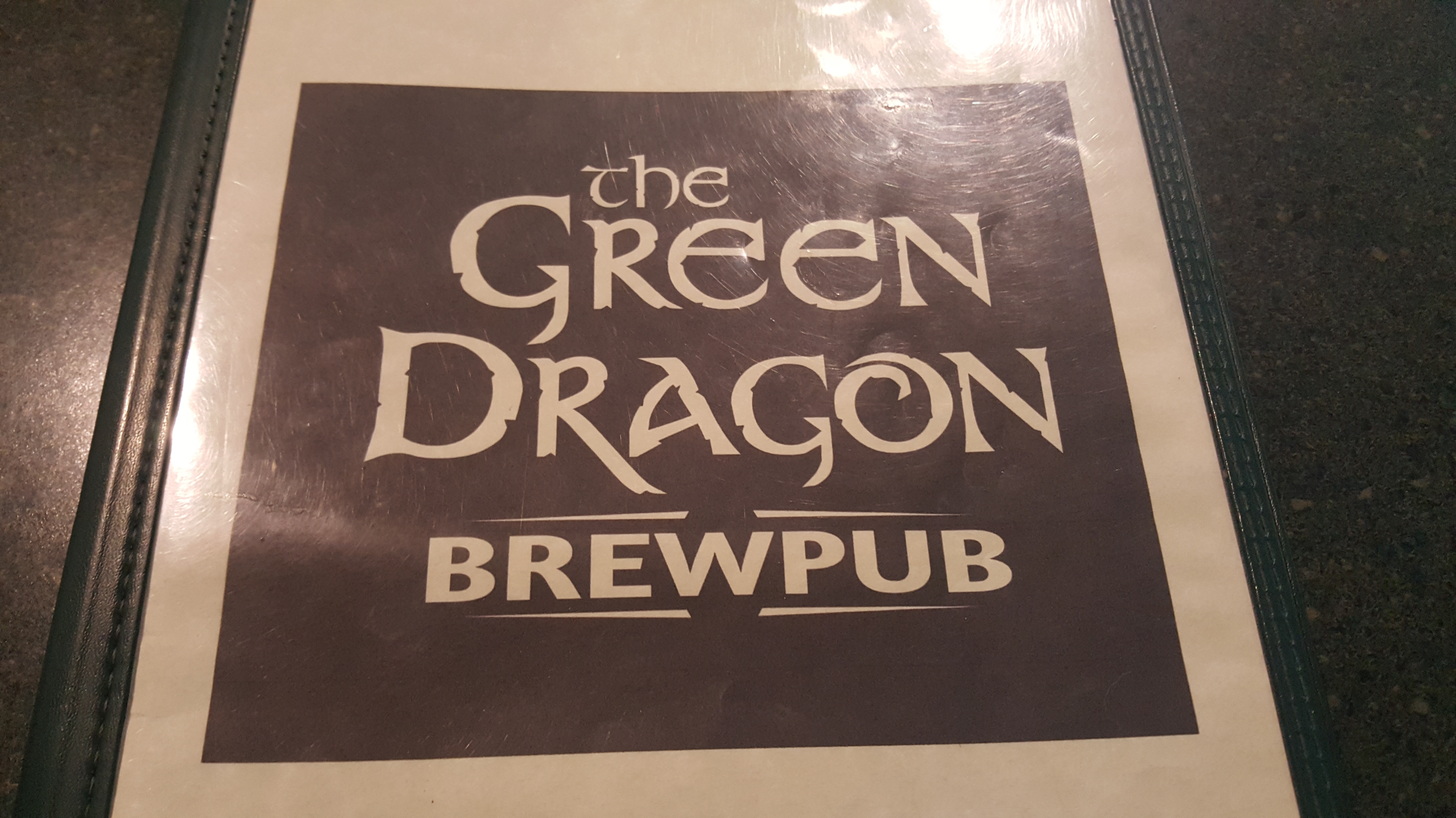 Green Dragon Brew Pub Menu Cover
