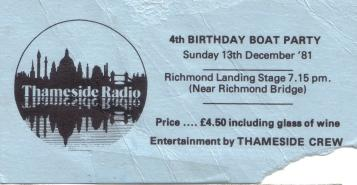 Thameside 13Dec81 The 4th birthday live from a pirate ship