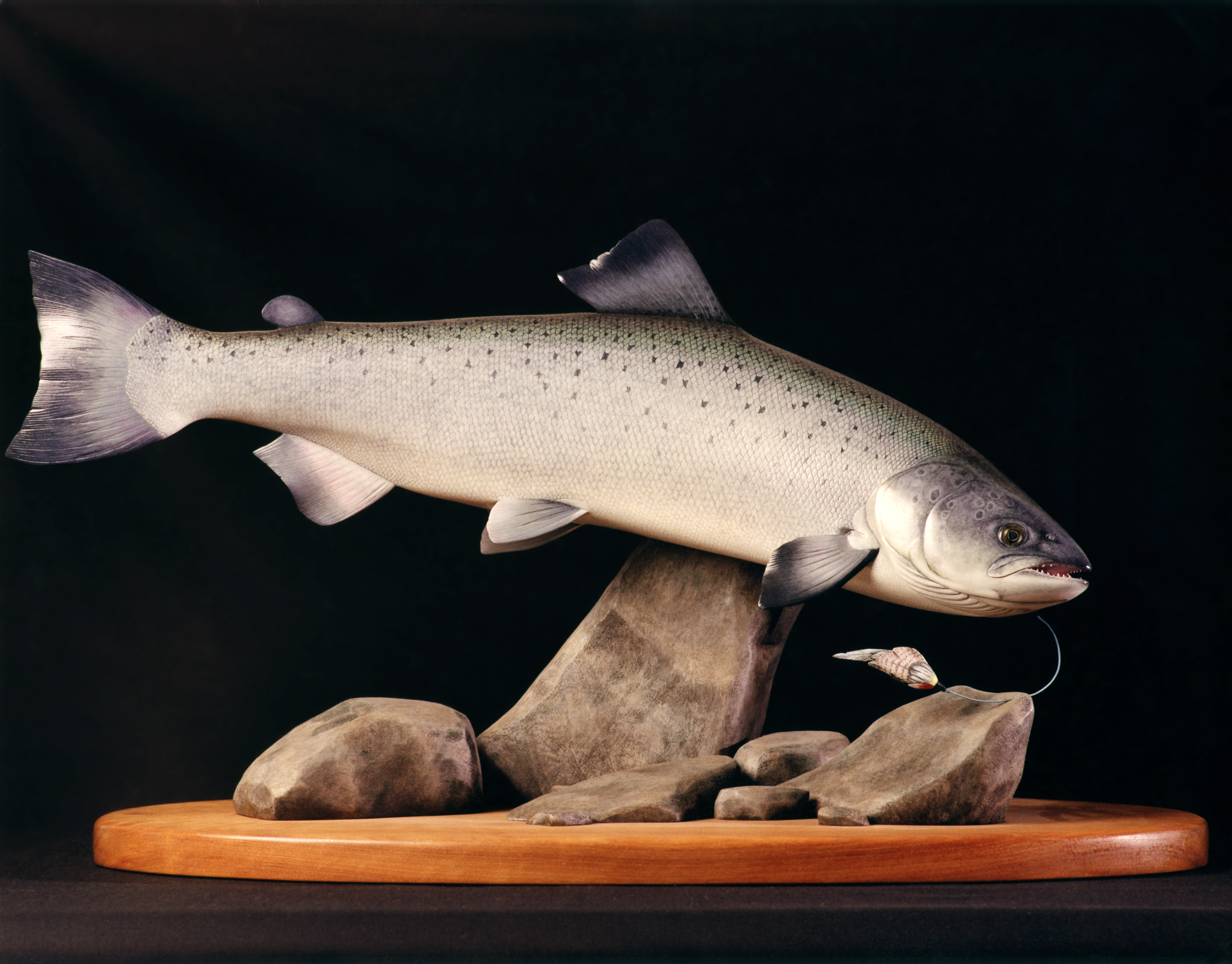 Rick Hill trout carving