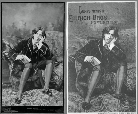 Photo of Oscar Wilde by Sarony, with postcard engraving derived from original.