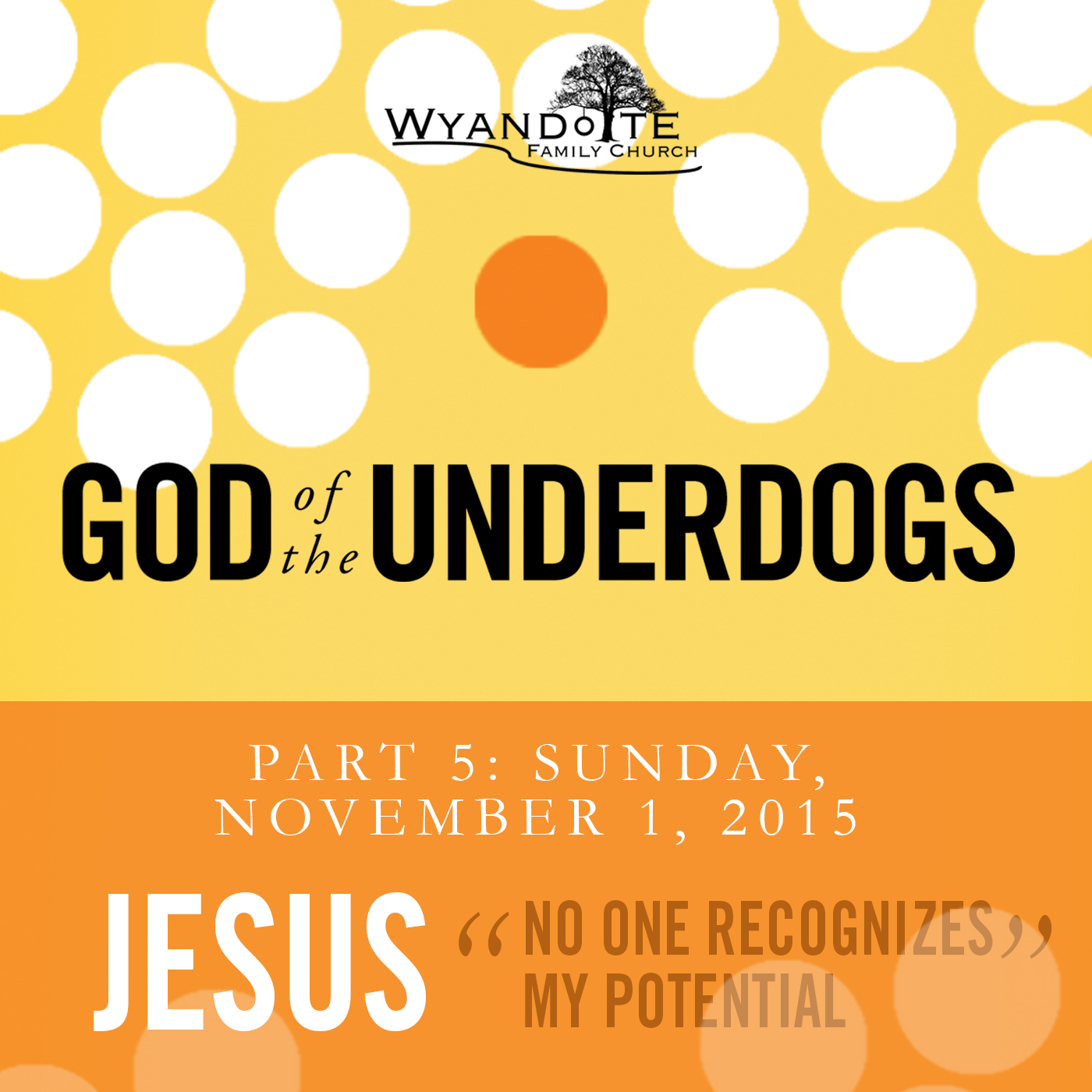 "God of the Underdog Part 5: Jesus ""No One Recognizes My Potential"""