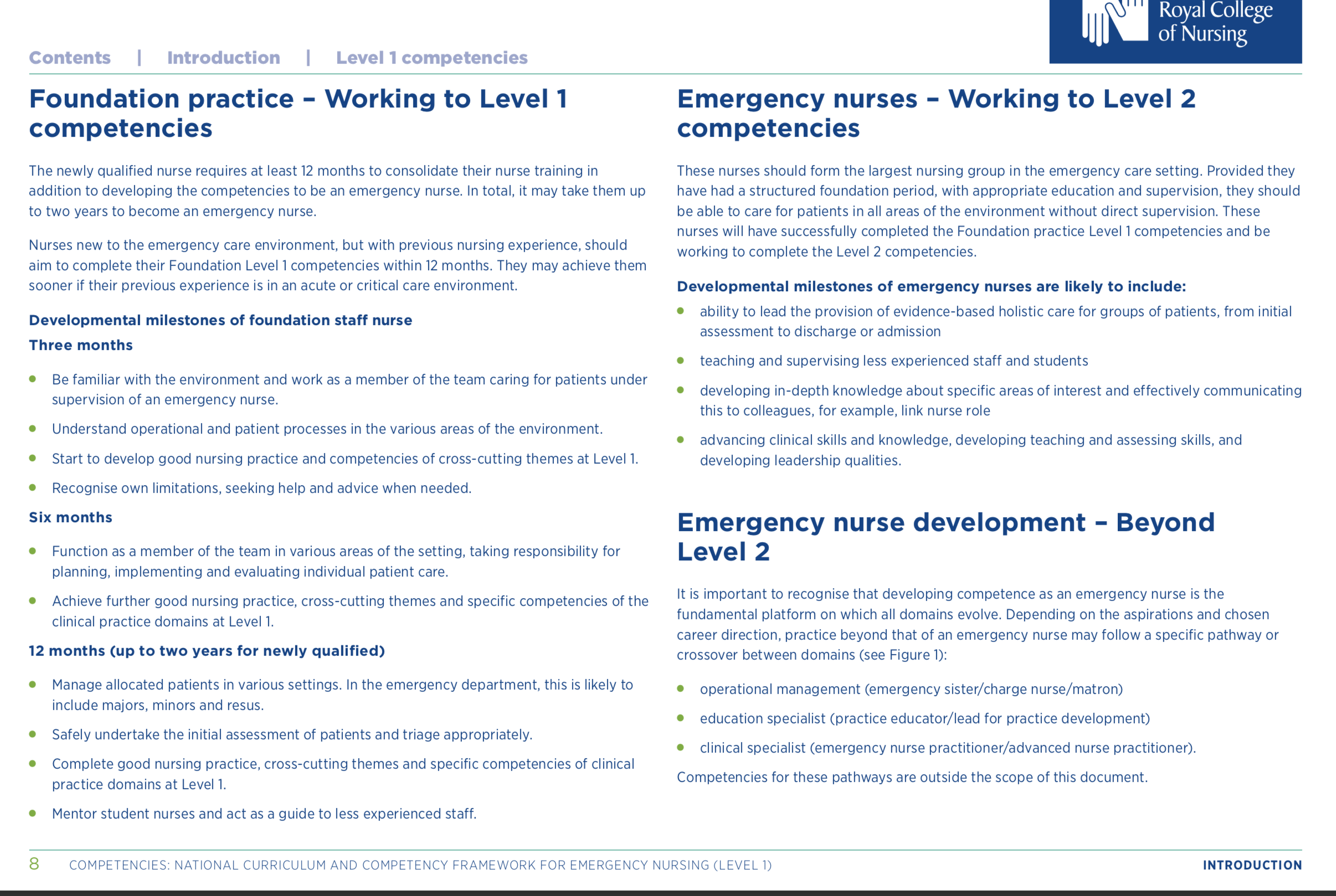career progression through the levels in ED