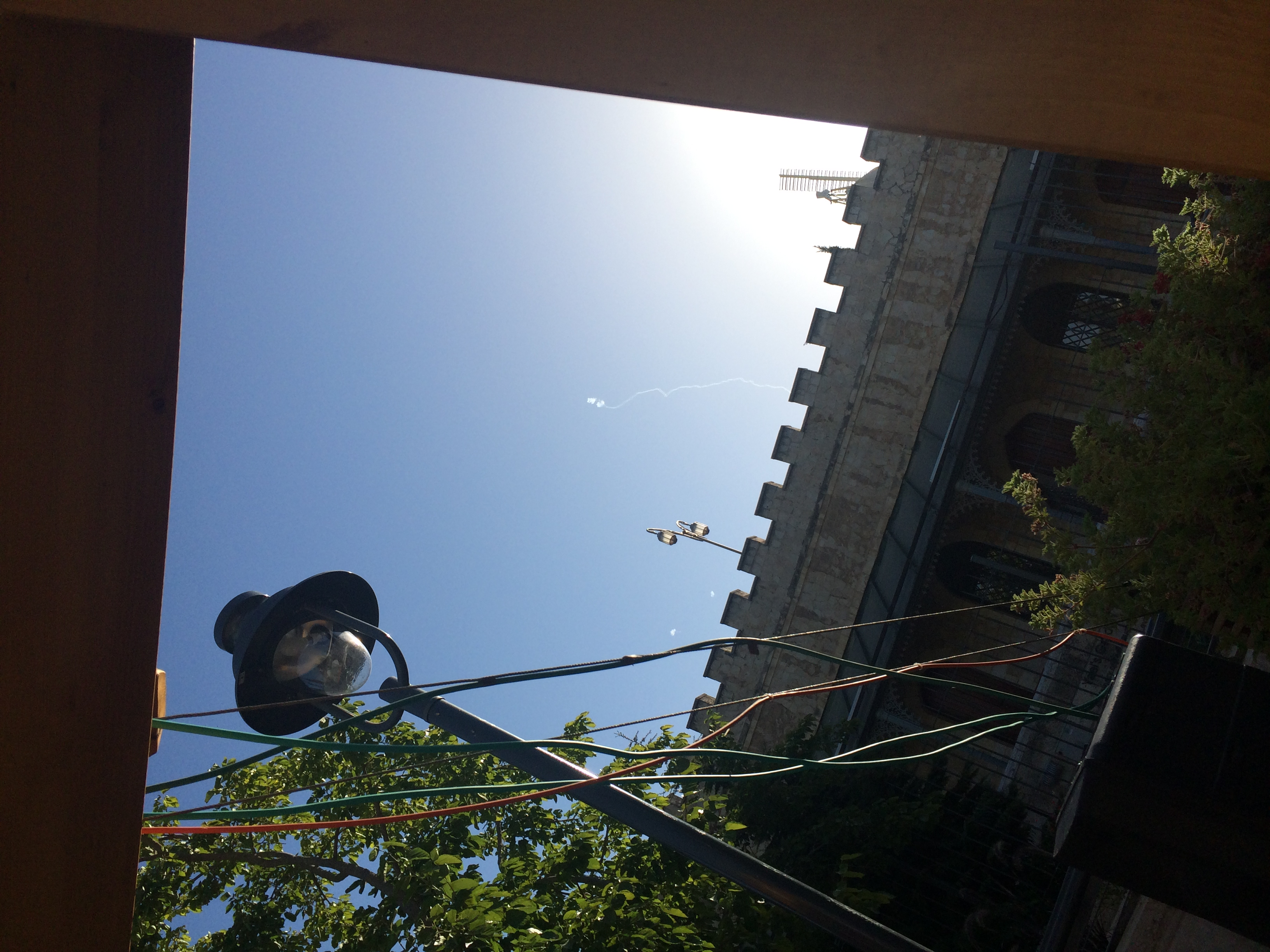 Uri Dromi captures rocket interception above the Jerusalem Press Club offices