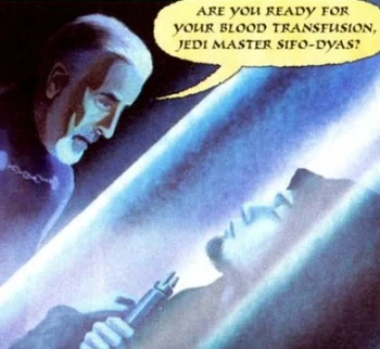 Dooku considers the cryogenically frozen body of Sifo-Dyas and asks about blood transfusions