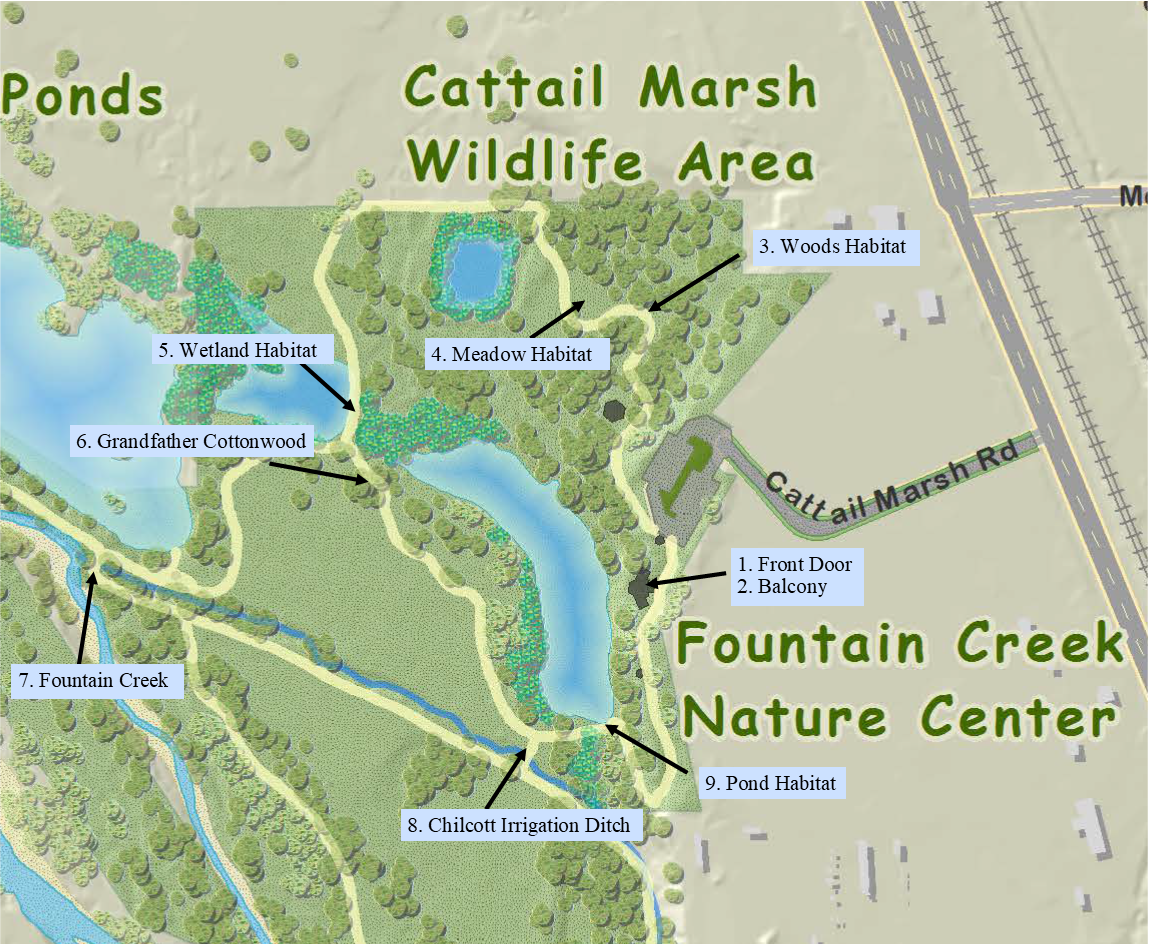 Map of audio tour stops in Fountain Creek Regional Park