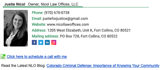 screenshot of lawyer Justie Nicol's email signature
