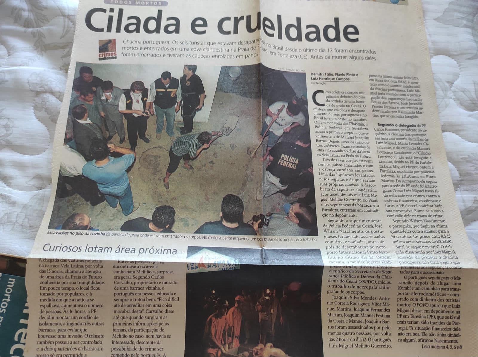 Capa do Jornal O POVO sobre a morte de seis portugueses em Fortaleza