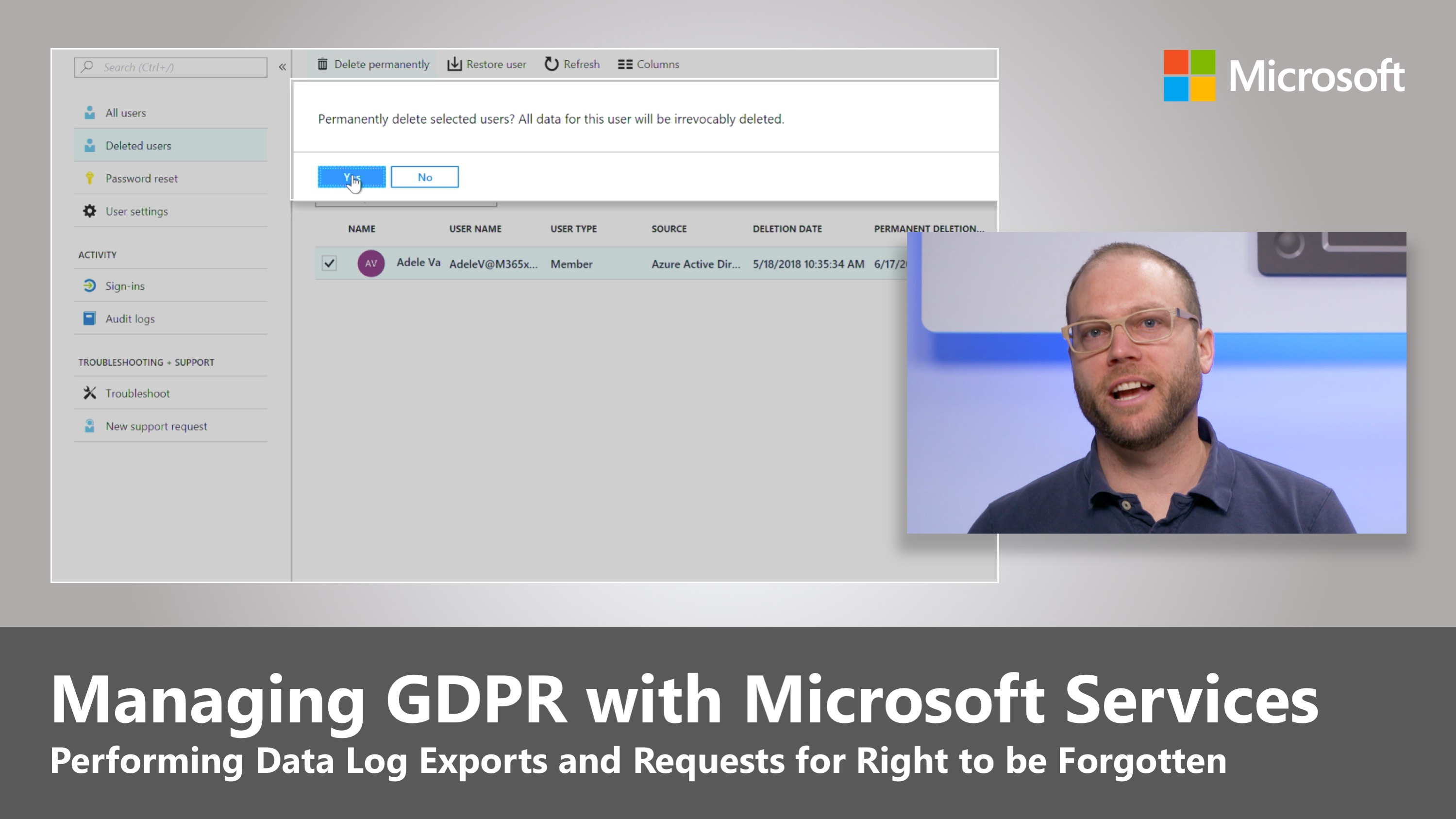 Artwork for Managing GDPR with Microsoft Services