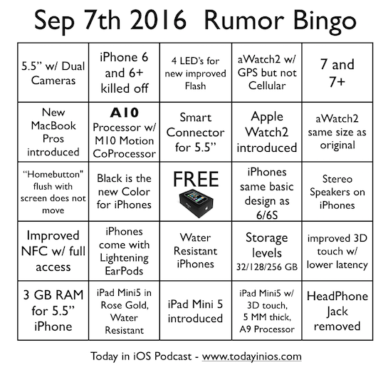 September 7th 2016 - Apple / iPhone Rumor Bingo